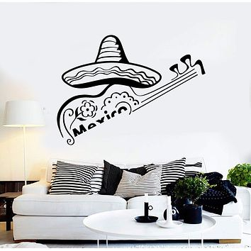 Vinyl Wall Decal Mexican Hat Sombrero Mexico Guitar Latin America Stickers Unique Gift (ig4278)