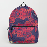 mandala 8 red blue #mandala Backpacks by Lionmixart
