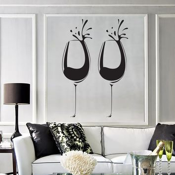 Large Vinyl Decal Wall Sticker Wine Glass Alcohol Drink Cafe Restaurant Decor (n984)