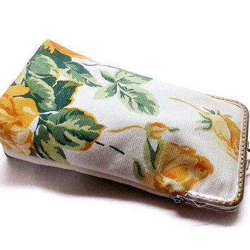 Sunglasses Case Spring Collection - Yellow Rose - One-of-A-Kind (OOAK) - cotton canvas - Silver Frame - Ready to ship!