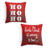 Christmas Pillow, Red Scatter Cushion, 16x16, Xmas Decor, Santa, Ho Ho Ho Quote Cushion Cover