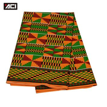 ACI Best Selling Ankara African Wax Print Fabric 6 Yards/Piece Ghana Kente Fabric African Fashion Real Wax Fabric For Patchwork