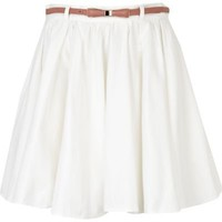 white belted mini skater skirt  - mini skirts - skirts - women - River Island
