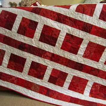 Handmade Patchwork Quilt with Red