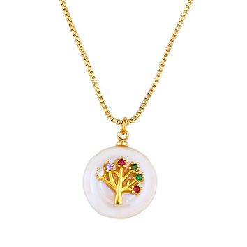 Mock Pearl Rainbow Swarovski Elements Tree Of Life Necklace in 18K Gold Filled