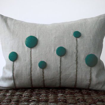 Teal Blue Billy Button Flower Pillow in Natural Linen by JillianReneDecor Craspedia Billy Ball Spring Home Decor Gift for Her