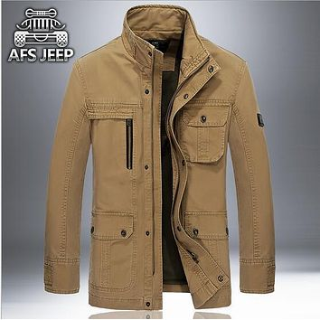 2017 Fashion New Men's Jacket 4XL Plus size Loose Military Men New 2017 Spring mens Casual Coats warm Military cotton Jackets