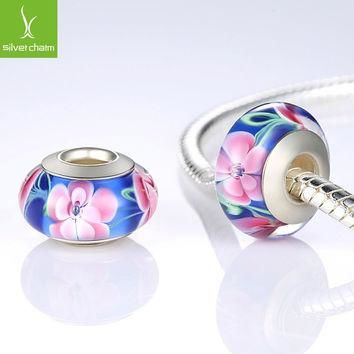 925 Sterling Silver Flower Murano Glass Beads Fit Pandora Bracelet Bangles Charms Orig