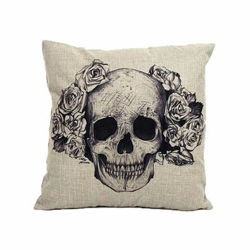 Skull & Roses Gothic Throw Pillow Cover