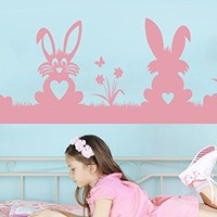 Easter Bunnies Decal Hare Wall Decals Rabbit Decorations Vinyl Stickers Nursery Kids Baby Room Happy Easter Nursery Decor C534