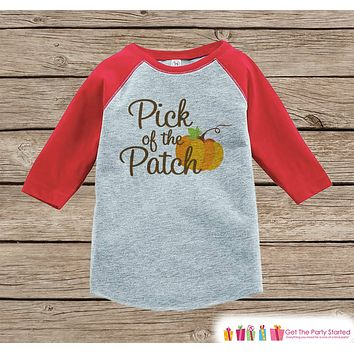 Pick of the Patch - Kids Pumpkin Patch Outfit - Girls or Boys Pumpkin Shirt - Red Raglan Tshirt or Onepiece - Kids Halloween Pumpkin Shirt