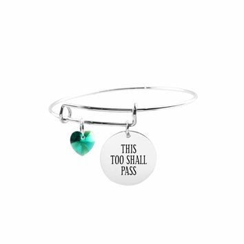 Adjustable Bangle with Crystals from Swarovski - THIS TOO SHALL PASS