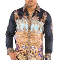 Prestige Black/Gold Columns Button-Up Shirt