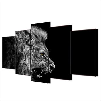 Dark Black and White Lion wall art canvas print - 5 piece Profile of a lion head