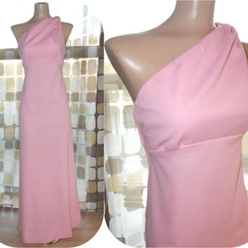 Vintage 70s Sexy PINK One Shoulder Grecian Maxi Dress S/M Hostess Cocktail Gown