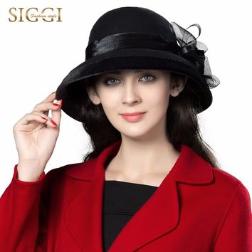 SIGGI  Women 100% Wool Felt Hats 1920s Vintage Bowler Derby Church Bucket Classic Elegant Fashion classic chapeau 88096