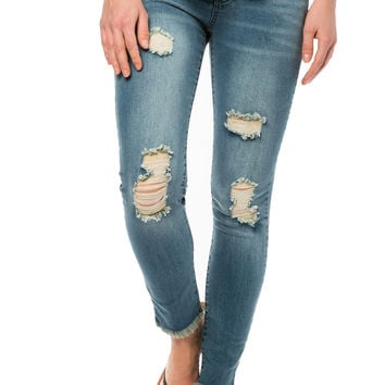 Girls Released Hem Super Skinny Jeans - Lauren