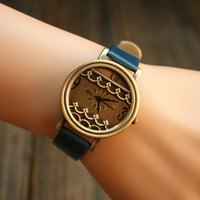 Vintage Style Watch with Waves ZZS781