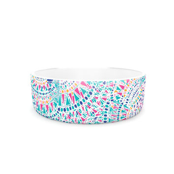"Miranda Mol ""Kaleidoscopic White"" Aqua Abstract Pet Bowl"