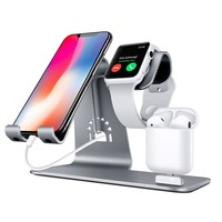Bestand Bestand-HO6-Grey 3 in 1 Apple iWatch Stand, Airpods Charger Dock, Phone Desktop Tablet Holder for Airpods, Apple Watch/ iPhone X/8 Plus/8/7 Plus/ iPad,Space Grey(Patenting, Airpods Charging Case NOT Included )