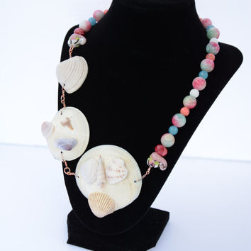 Sea Shell, Rainbow Candy Jade, Strawberry Jasper, Magnesite, White Jade and Blue Quartz Necklace