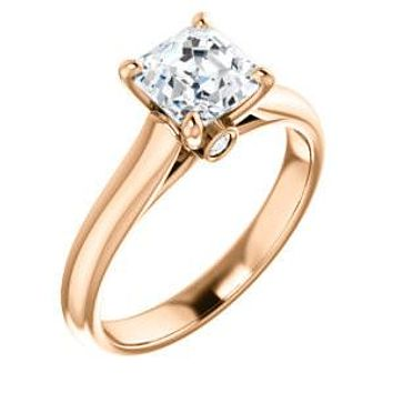 Cubic Zirconia Engagement Ring-*Clearance* The Tawanda (2.5 Carat Asscher Cut Cathedral Setting with Peekaboo Accents in 10K Rose Gold)