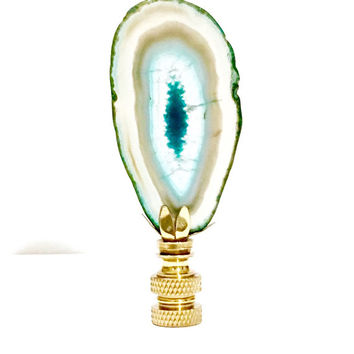 Agate Slice and Brass Lamp Finial - Blue Druzy Stone