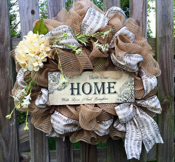 Incroyable Front Door Wreath With Musical Ribbon, From ShellysChicDesigns On