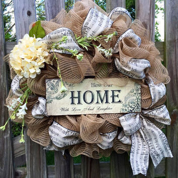 Front door wreath with Musical Ribbon, Burlap deco mesh wreath. Bless our Home with love and Laughter, Year round wreath, Summer mesh wreath