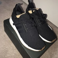adidas Originals NMD R1 Primeknit Sneakers Shoes Black Gum PK BY1887 US 9