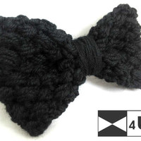 Black Hand Knitted Bow Tie Crochet Bow Tie Dickie Bow Bowtie Wedding Bow Tie Groomsmen Bow Tie Man Men Lady Gift Fancy BowTie4You Handmade