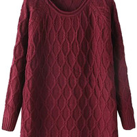 Argyle Asymmetrical Long Sleeve Sweater