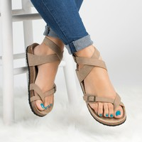 Lace Up Footbed Sandals - Taupe