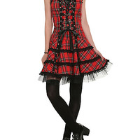 Red Plaid Lace-Up Dress