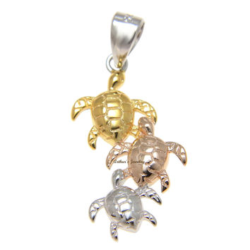 925 Sterling Silver Tricolor Hawaiian 3 Honu Sea Turtle Family Pendant