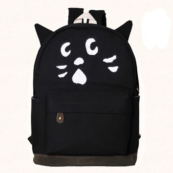 Black Cat Canvas School Backpacks