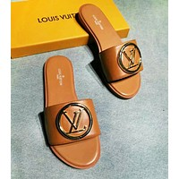 Louis Vuitton LV Fashion New Monogram Print Metal Letter High Quality Leisure Shoes Slippers Brown