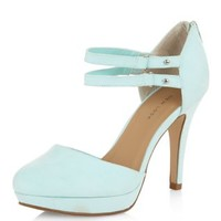 Wide Fit Mint Green Double Ankle Strap Heels