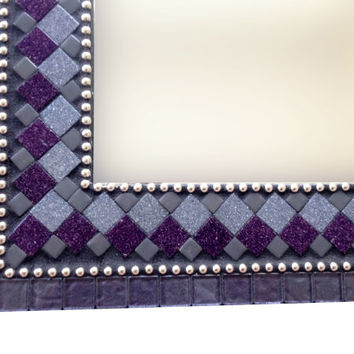Wall Mirror, Purple Silver Gray Black Mosaic
