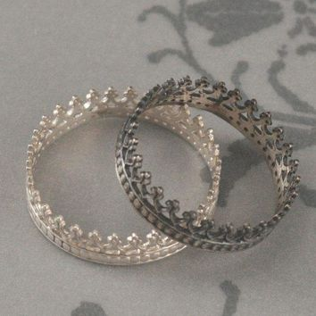 King Me Ring  King For A Day  Gold Plated Sterling Silver Crown Band  Rose Or Yellow Gold Plated  Custom Made In Your Size