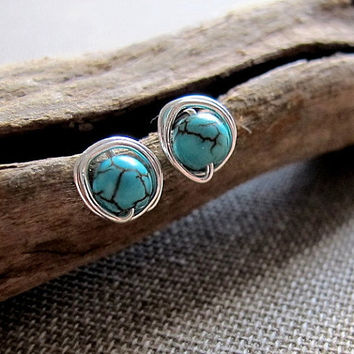 Turquoise Stud Earrings. Sterling Silver Studs. Elegant Earrings w/h Turquoise Cracked Stone