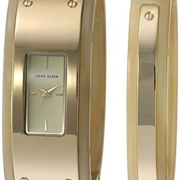 Anne Klein Women's Gold-Tone and Horn Resin Watch and Bangle Set