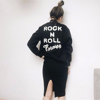 Ladies Letter Print Hoodies Zipper Hooded Pullover Bomber Jacket Coats