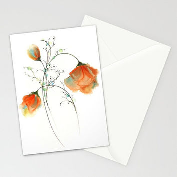 Faithful Expression - Greeting Card romantic anniversary Valentine's Day red roses orange flower peddles watercolor art painting envelope