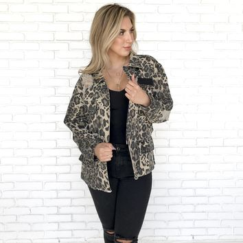 Be All You Can Be Leopard Denim Jacket