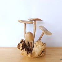 Woodland Mushroom Sculpture 1960s Carved Wood Toadstool Mushroom Hippie Decor Light Wood Fungi