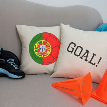Set of 2 Portugal Soccer Team Pillows - Cotton Canvas Covers and/or Cushions - 14x14 and 16x16
