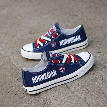 Norwegian Flag Pride Low Top Canvas Shoes Custom Printed Sneakers