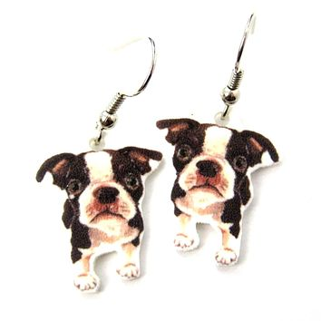 Boston Terrier Puppy Dog Watercolor Animal Dangle Earrings | Handmade Shrink Plastic