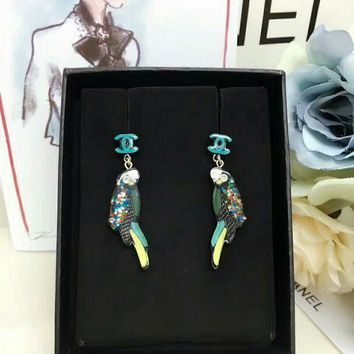 Chanel Earrings Dangle Color Resin Material Of Parrot Ear